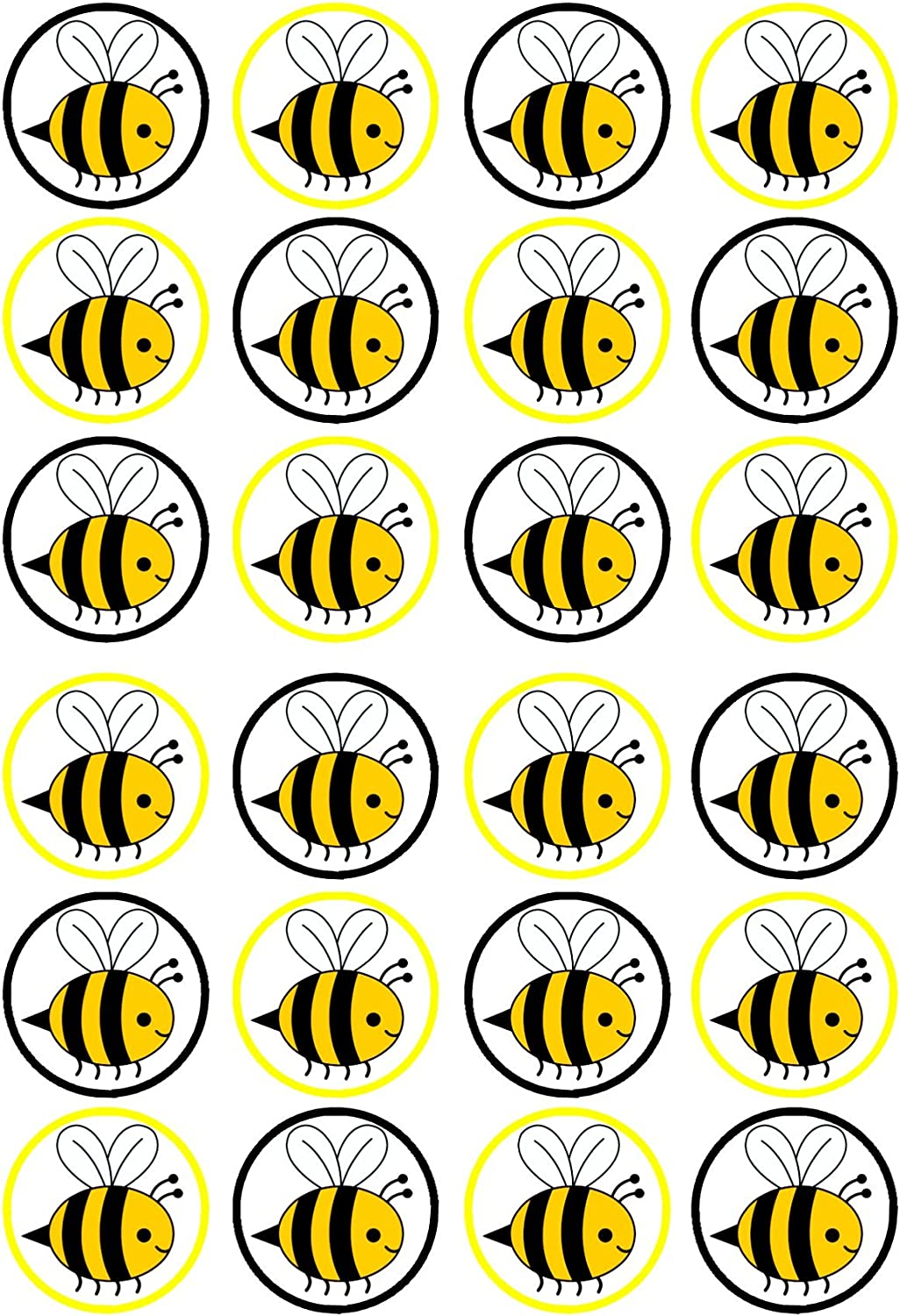 Amazon Com 24 Bumble Bee Precut Edible Cupcake Toppers Wafer Card Disc Cake Decorations Stand Up Uncut Grocery Gourmet Food