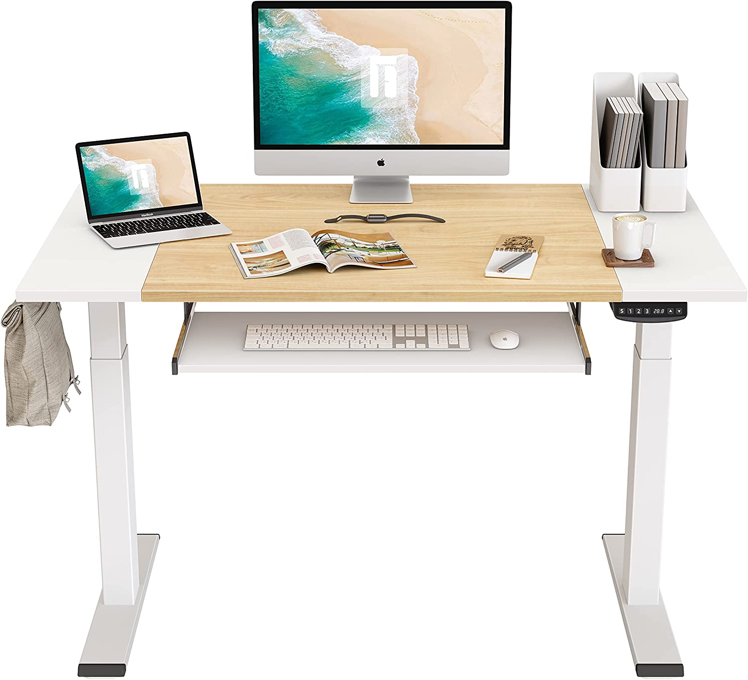 FEZIBO Dual Motor Height Adjustable Electric Standing Desk, 48 x 24 Inches Full Sit Stand Home Office Table with Splice Board, White Frame/White and Natural Top