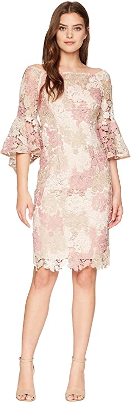 Lace Boat Neck Sheath Dress