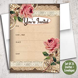 Vintage Pink Roses Fill in Invitations, 25 Invites with Envelopes. Elegant Vintage Style is Great for Any Occasion, Birthday, Wedding, Engagement, Anniversary, Shower, Dinner Party, Special Events.