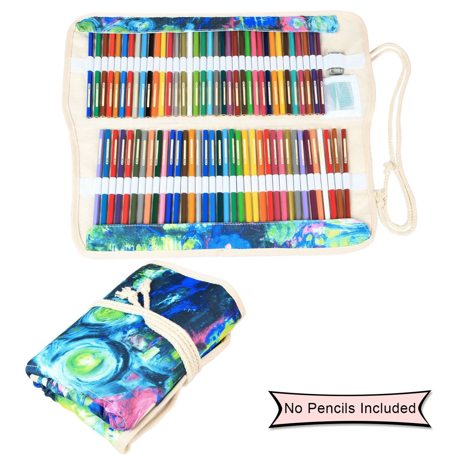 Damero Colored Pencils Case Wrap 100 Holes, Canvas Wrap Pencil Holder Storage Organizer Roll with Multi-purpose Pouch for Artist and Students, Painting(NO Pencil Included)