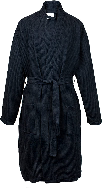 BC BARE COTTON Long Waffle Kimono Women Robe, One Size, Black