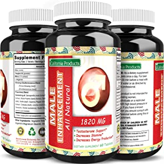 California Products Male Enhancement Supplement with Pure Tongkat Ali Zinc L-Arginine and Maca Root Natural Energy Booster for Men Increases Drive Stamina and Performance 60 Tablets