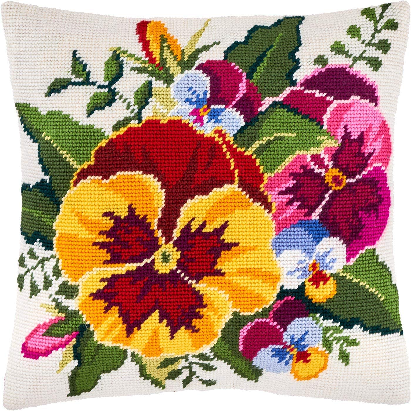 Violas. Needlepoint Kit. Throw Pillow Import Tape 2021 model Inches. Printed 16×16
