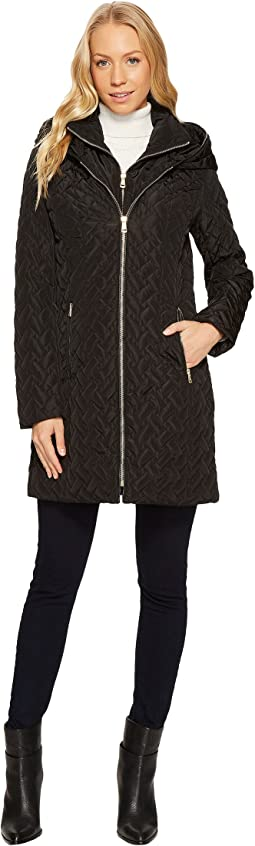 Cole Haan - Hooded Signature Quilt Zip Front Coat