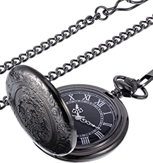 Hicarer Quartz Pocket Watch for Men with Black Dial and Chain