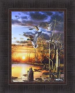 Home Cabin Décor Evening Splendor by Jim Hansel 17x21 Mallards Ducks Sunset Water Pond Framed Art Print Picture