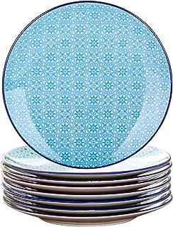 vancasso, Série Macaron, Assiette à Dessert Japonaise en Porcelaine, 8 Pièces, Assiette Colorée- 22 cm (Assiette Petite *...