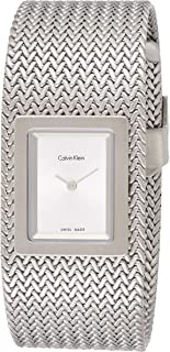 Calvin Klein Womens Quartz Watch, Analog Display and Stainless Steel Strap