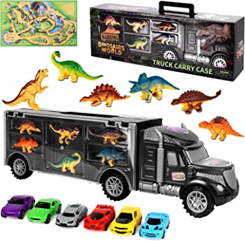 AOKESI 6 Dinosaurs and 6 Mini Cars for Boys and Girls