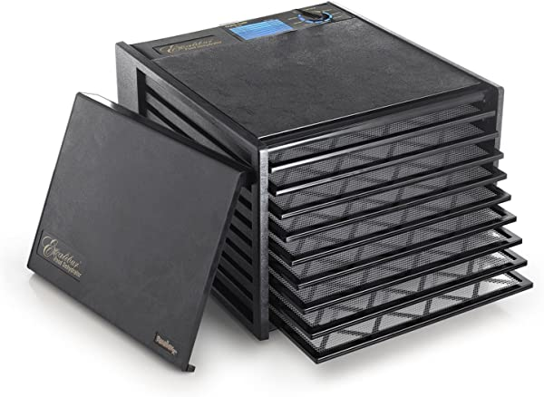 Excalibur 2900ECB 9 Tray Food Dehydrator With Adjustable Thermostat For Temperature Control Patented Technology For Faster And Efficient Drying 15 Square Feet Drying Space Made In USA 9 Tray Black
