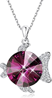Animal Pendant Red Necklace for Women Girls Purple Crystal Pendant, Made with Swarovski Crystal