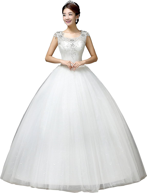 Clover Bridal 2019 Elegant Scoop Jewel Nest Applique Crystal Sequined Bridal Gown Wedding Dress Ivory
