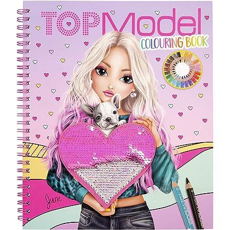 Depesche- Libro para Colorear con Lentejuelas, TOPModel, Aprox. 20,5 x 24 x 1,5 cm, Color 0, única (11146)