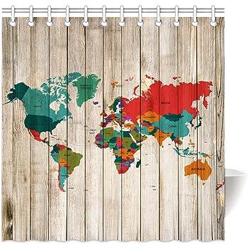 Croydex - Cortina de Ducha, diseño de mapamundi: Amazon.es: Hogar