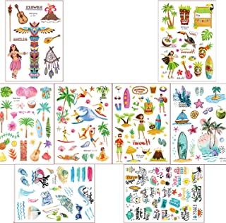 Hawaiian Temporary Summer Tattoos for Kids Adults, 120+ Tropical Summer Beach Pool Party Luau Tattoos Stickers 8 Sheets for Boys Girls, Birthday Party Favors School Carnival Game Festival Event