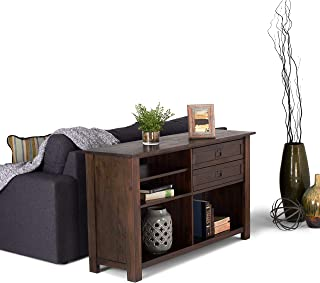 Wynden Hall Garret Solid Acacia Wood 52 inch Wide Rustic Console Table in Distressed Charcoal Brown