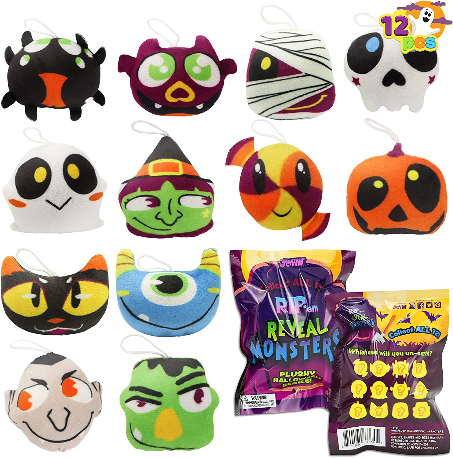 JOYIN 12 pcs Halloween Mini Plush Toy in Blind Bags, Halloween Mystery Toy Surprise Bag, Plush Toy Assortments for Kids Halloween Party Favors, Trick or Treat Gift Exchange, Halloween Goodie Fillers