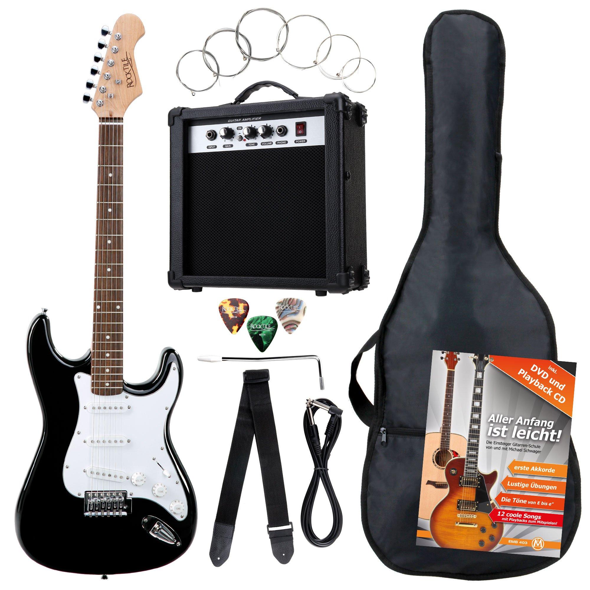 Rocktile 19331 - Pack guitarra eléctrica Banger 7 piezas, color negro: Amazon.es: Instrumentos musicales