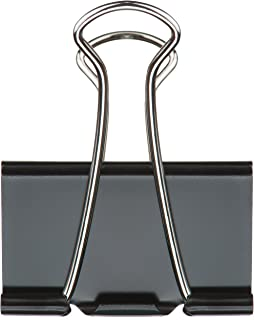 TRUSTY Large Binder Clips in Crystal Clear Plastic Box with Attached Lid