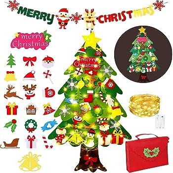 Zapdaz Árbol de Navidad de Fieltro para niños, 3.6 ft DIY árbol de Navidad de Pared fijó con 50 Luces LED 34 Piezas Adornos, Cuerda Colgante decoración del árbol de Navidad Desmontable【110 x 67.5cm】