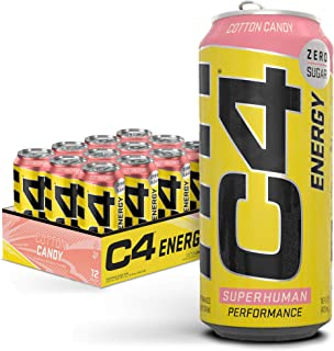 C4 Original Sugar Free Energy Drink 16oz (Pack of 12) |Cotton Candy | Pre Workout Performance Drink with No Artificial Co...