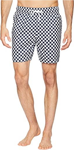 Reversible Checkerboard Print Elastic Volley Trunks