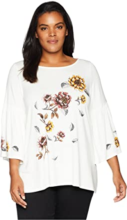 Plus Size Printed Flare Sleeve Top