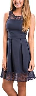 Ecowish - Vestido para mujer con encaje y sin mangas, talla única, falda midi