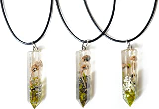 Real Mushrooms & Moss Resin Crystal Necklace - Shroom Necklace- Witchy- Pagan- Nature Jewelry