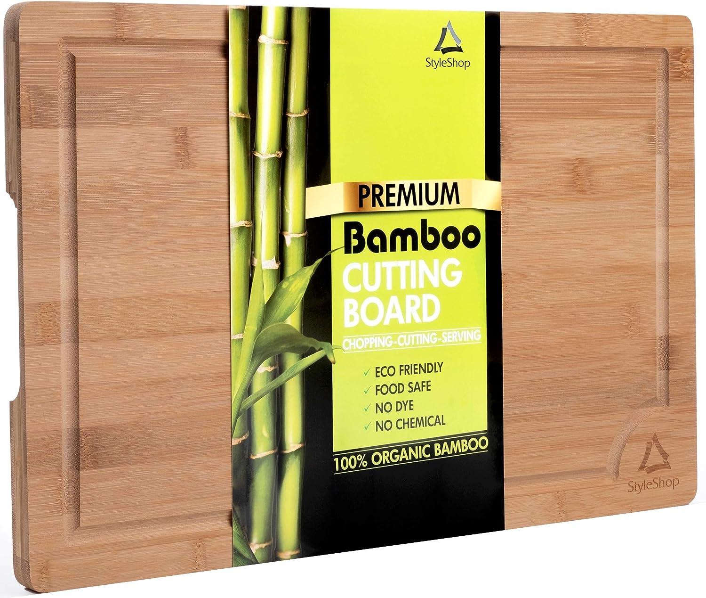 Mit Saftrille und Griffen Holzschneidebrett Holz 45cm x 30cm x 2cm Styleshop777 Schneidebrett aus 100/% Bambus Gro/ß