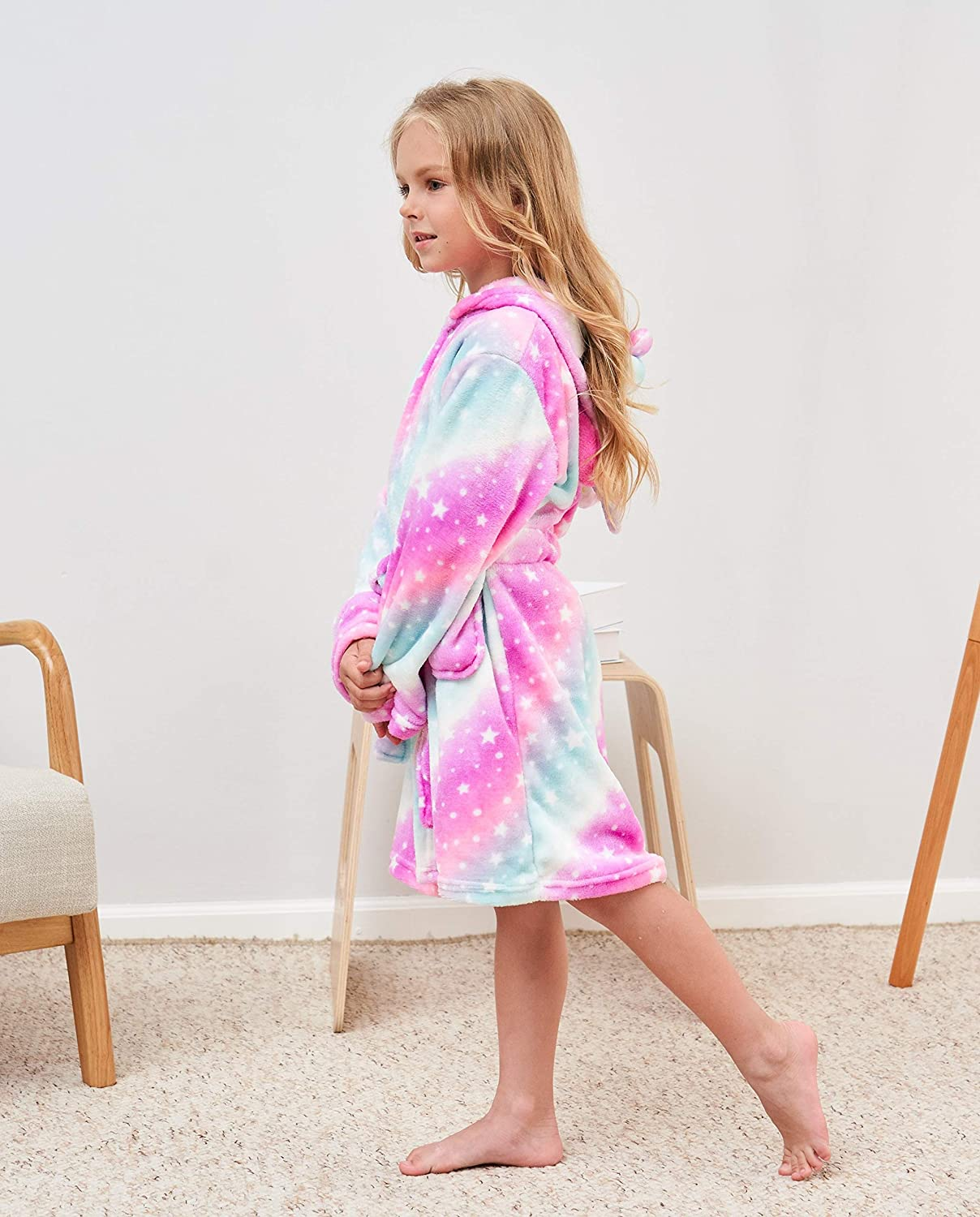 Soft Unicorn Hooded Robe with Matching Slippers for Girls