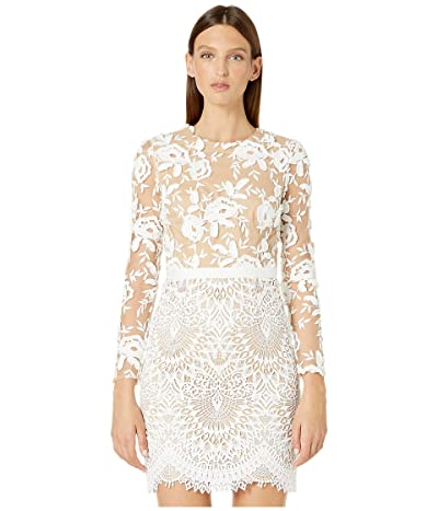 ML Monique Lhuillier Long Sleeve Floral Embroidered Mesh Dress (Ivory/Nude) Women