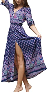 R.Vivimos Women's Button Up Floral Print Split Beach Maxi Dresses
