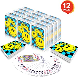 Gamie Mini Smiley Playing Cards Deck - Pack of 12 - 2.5 Inches Tall - Blue Checkerboard Background - Poker-Casino Cards - Carnival Prize, Party Favor and Gift Idea for Kids Ages 3+