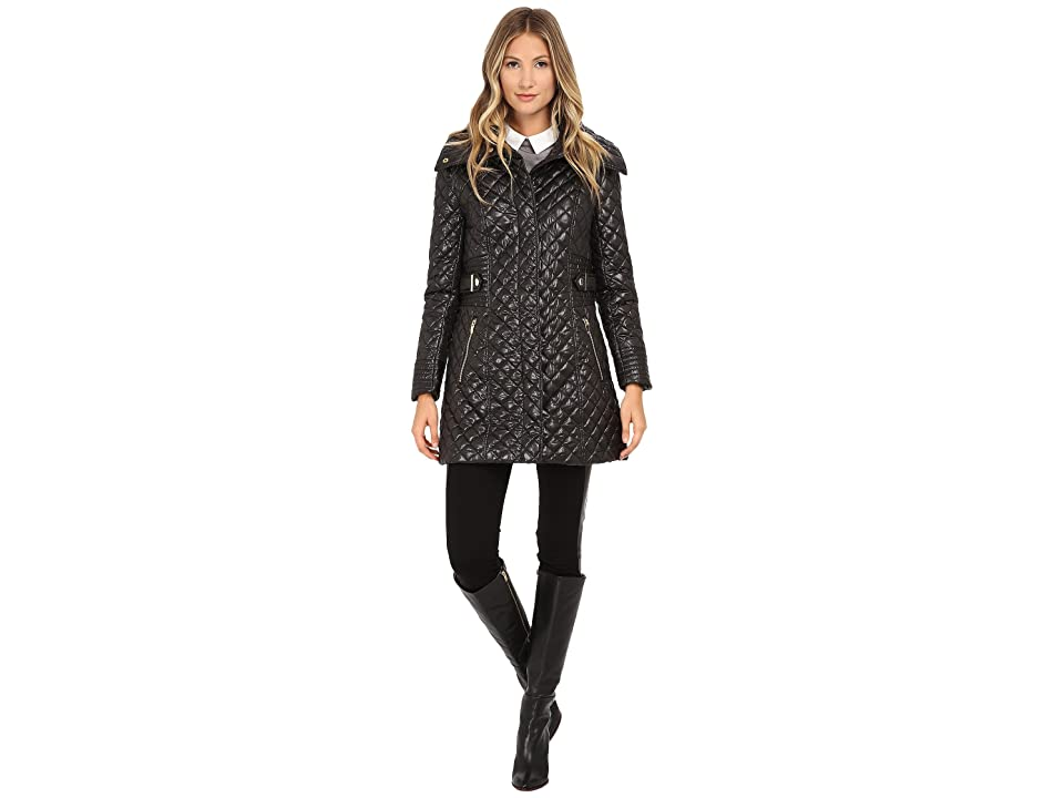 Via Spiga Hidden Zip Front Quilt Coat w/ Side Tab Detail (Black) Women