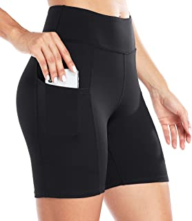 """ATTRACO Workout Shorts Women's 5""""/6""""/7"""" High Waist Yoga Leggings with Pockets Athletic Running Short Compression Biker Tights"""