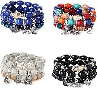 4 Sets Bohemian Beaded Bracelets for Women Girls Multilayer Stretch Stackable Elephant Wing Love Heart Bracelet Set Multicolor Jewelry