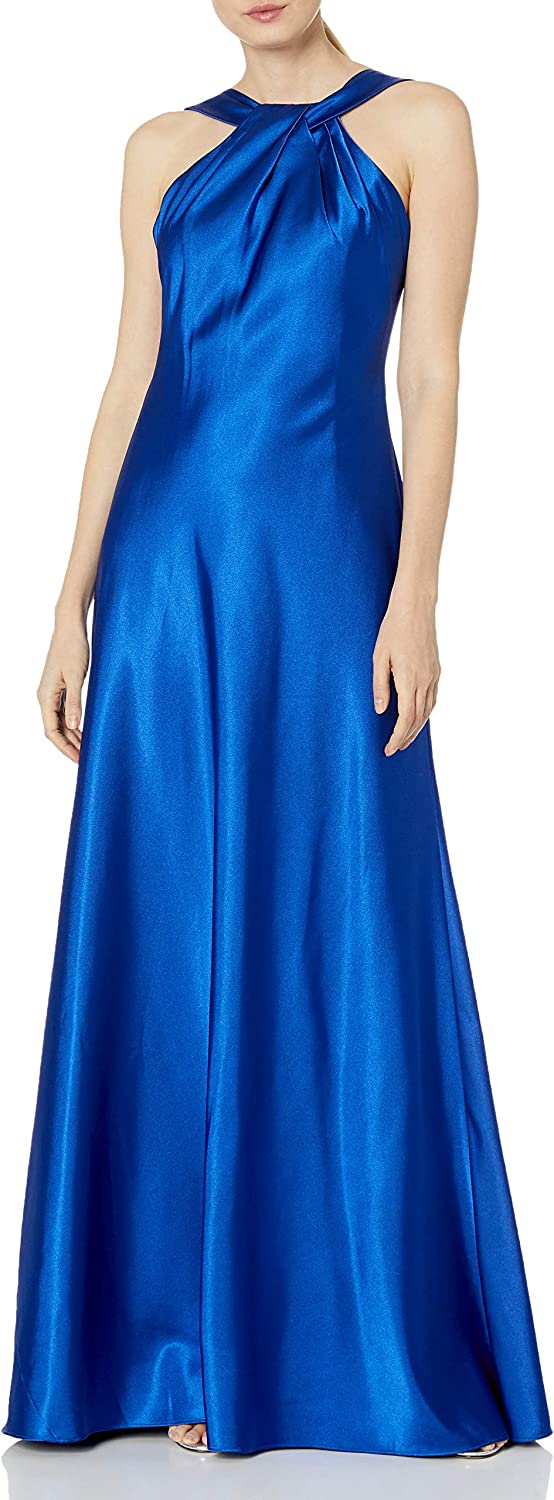 El Paso Mall Calvin Klein Women's Halter Neck Gown outlet Draped with O Neckline and