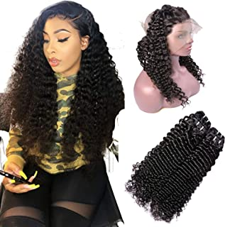 IWISH Brazilian Deep Wave 2 Bundles With 360 Frontal Lace Closure 8A Unprocessed Curly Hair 2 Bundles Virgin Human Hair Extension With Free Part 360 Lace Frontal Closure (12 14+12, Deep+360 Frontal)