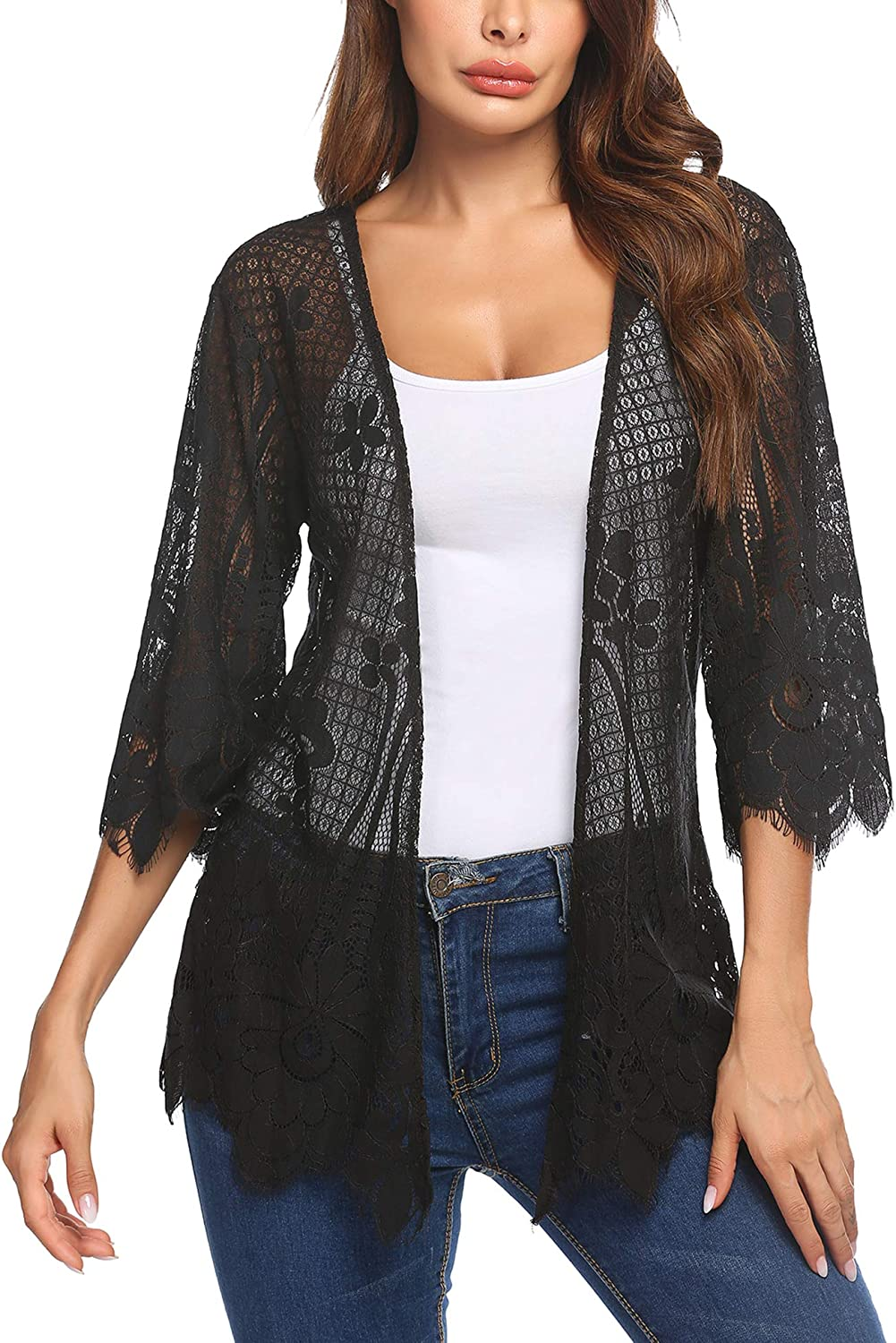 Chainscroll Women Casual Kimono 3 4 Sleeve Cover Up Crochet Lace Cardigans