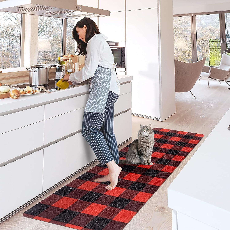 Carvapet Buffalo Plaid Kitchen Mat Waterproof Non-Slip Rugs Cushioned Anti-Fatigue Kitchen Rug Heavy Duty PVC Ergonomic Comfort Standing Foam Mats for Office Laundry, Black&Red, 17.3''x47.2''