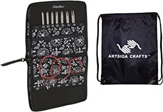 ChiaoGoo Knitting Needles Twist Red Lace Interchangeable Set Small Needles Sizes US 2 (2.75mm)-US 8 (5mm) Bundle with 1 Artsiga Crafts Project Bag 7500-S