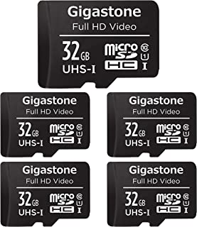 Gigastone 32GB 5-Pack Micro SD Card with Adapter, U1 C10 Class 10 90MB/S, Full HD available, Micro SDHC UHS-I Memory Card - Full HD Video Series