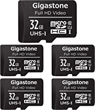 Gigastone 32GB 5-Pack Micro SD Card, Full HD Video, Surveillance Security Cam Action Camera Drone, 90MB/s Micro SDHC UHS-I...