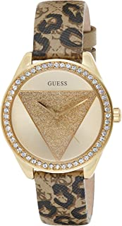 GUESS Womens Quartz Watch, Analog Display and Leather Strap - W0884L9
