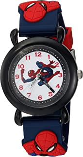 MARVEL Boys Spider-Man Analog-Quartz Watch with Plastic Strap, Blue, 16 (Model: WMA000164)