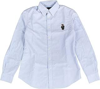 Womens Slim Fit Bear Oxford Shirt (Medium, Blue)