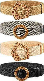 4 Pieces Straw Woven Elastic Stretch Waist Belt Women Skinny Dress Belt Wooden Style Buckle Belt for Women Girls Favors