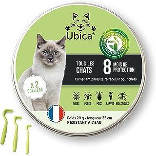 Ubica® (X2) Collier Anti Puces pour Chat Naturel Anti Tiques pour Chat – Répulsif – A Base d'Huiles Essentielles de Citron...